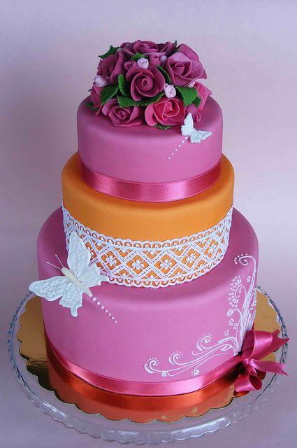 Fuschia and orange cake by bubolinkata, via Flickr