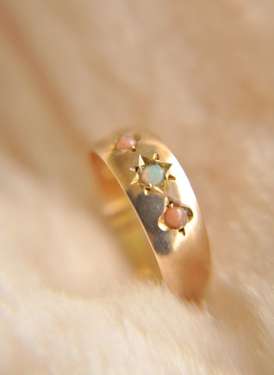 opal and coral ring