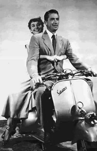 "Gregory Peck and Audrey Hepburn in ""Roman Holiday"" This makes me happy because it was mentioned in the book Mark of Athena..love?"