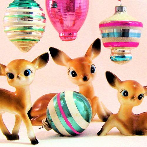 vintage deer and ornaments