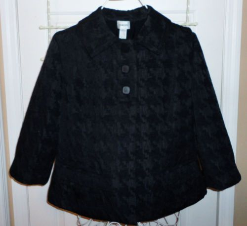 Chicos Black Travel Collection High Texture Houndstooth Jacket Square Buttons 2
