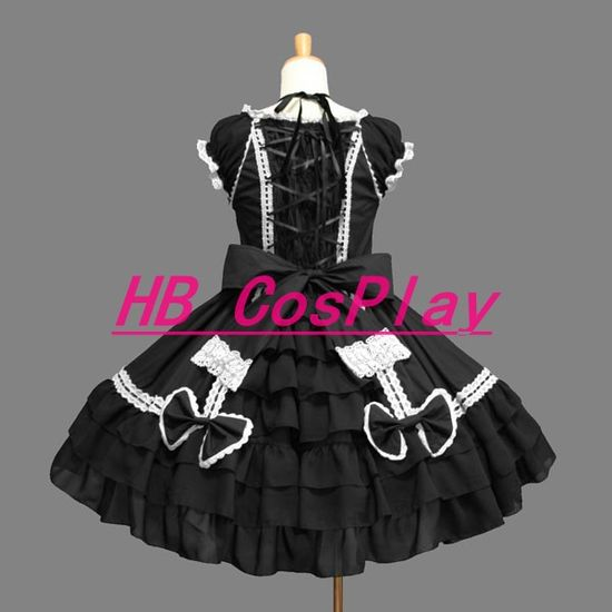2013 New Dress Black Bowknot Lace Princess Lolita Dress Cosplay Costume Anime Halloween Girls Women Performance Clothing
