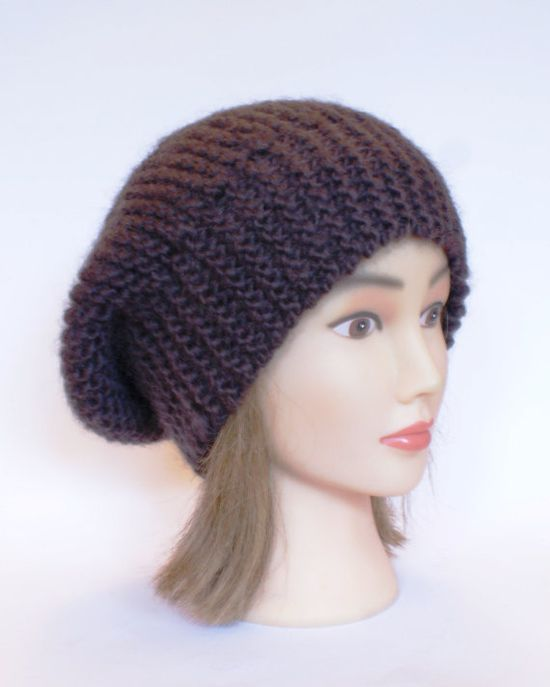 Beret style slouch hat Dark Brown slouchy beanies by Johannahats, $35.00