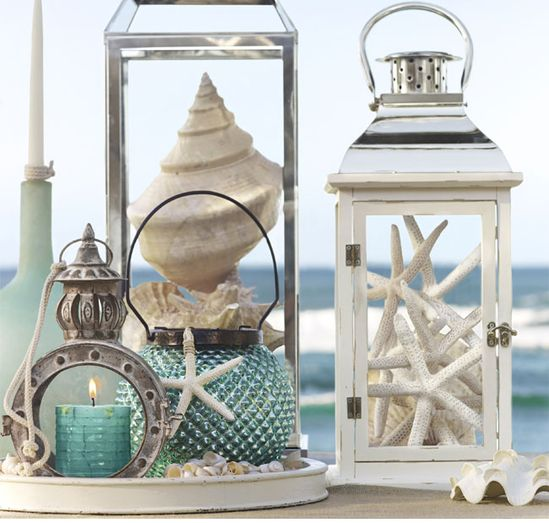 Beach weddings and any events are usually quite simple and relaxed. So to dress up reception areas I love the idea of keeping with ocean themes and using starfish and shells in the chosen colours to decorate.