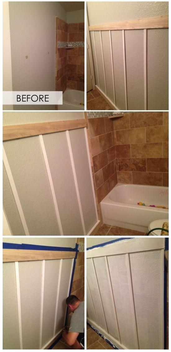 Before & After- DIY Wainscoting bathroom- Traditional meets Desert Boho! thelifestyledco.com BLOG!
