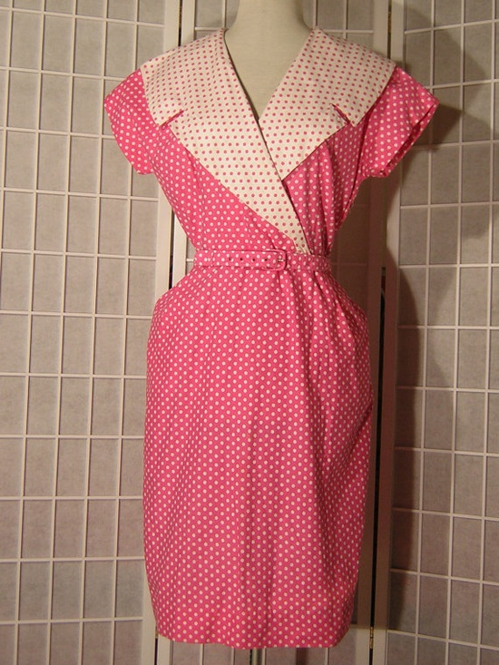 I love pink, I love small polka dots, needless to say, I'm rather fond of this darling 1950s frock :) #dress #pink #vintage #1950s #fifties #clothing #polka_dots #girly