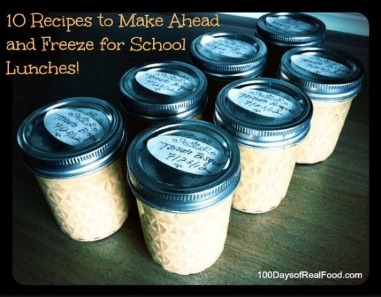 Real Food Tips: 10 Recipes to Freeze For School Lunches (which makes packing a breeze!) #schoollunch #healthylunch #lunch #100daysofrealfood