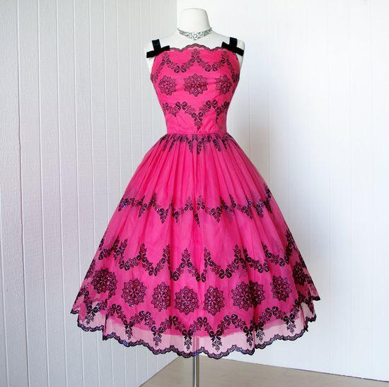 1950's fuchsia organza party dress ~ love this!