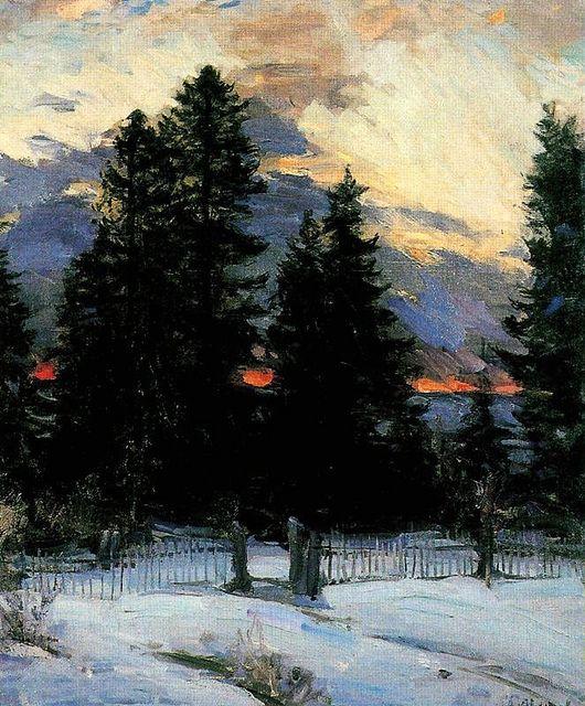 Arhkipov, Abram (1862-1930) - Sunset on a Winter Landscape (Musee d'Orsay, Paris, France) by RasMarley, via Flickr
