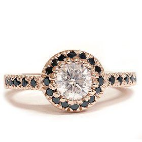 Real .93ct Black and White Diamond Wedding Ring 14K Rose Gold