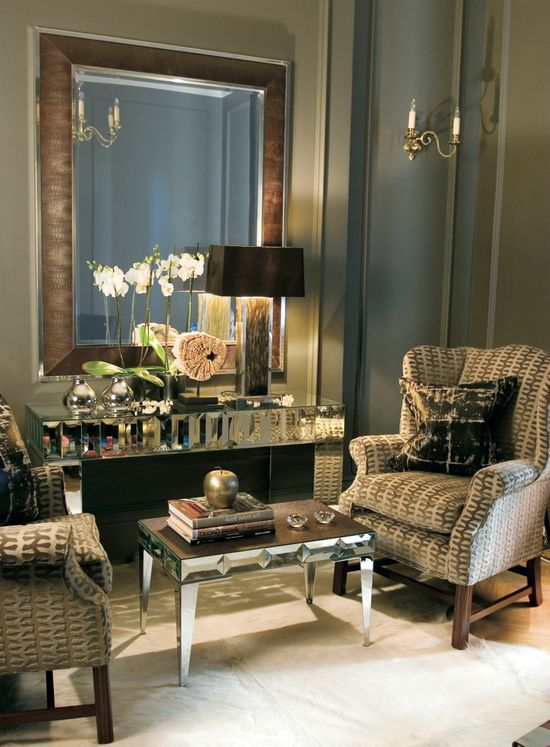 InStyle-Decor.com Beverly Hills Luxe Brown Ostrich Leather Mirror    Inspiring Interior Design Fans With Luxury Home Decor Ideas From Hollywood Enjoy & Happy Pinning