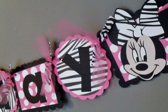 Minnie Mouse Zebra Birthday Banner