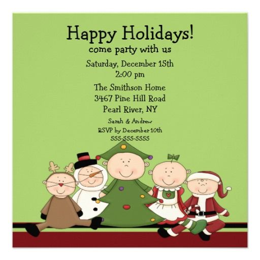Cute Kids Christmas Party Invitation