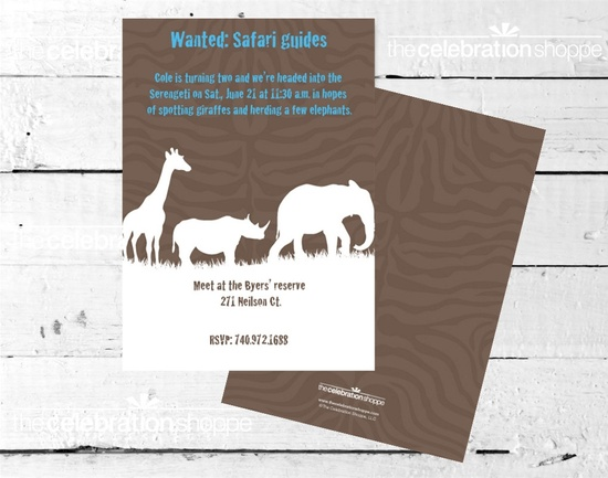 SAFARI+Silhouette+BIRTHDAY+Party+INVITATION+by+CelebrationShoppe,+$15.00