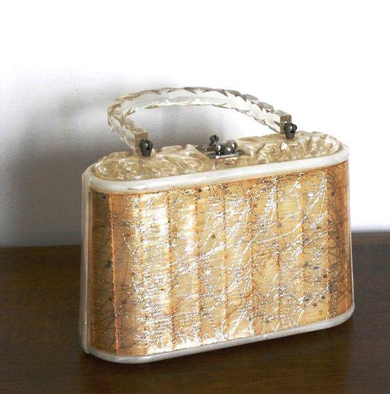 1950s Lucite Gold Stars Confetti Box Purse
