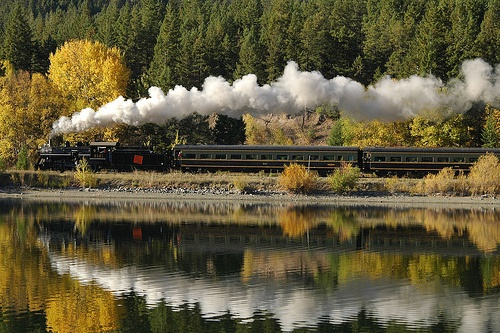 Reflections of the Past - 2141 Steam Locomotive reflected in Monty Lake, British Columbia, Canada