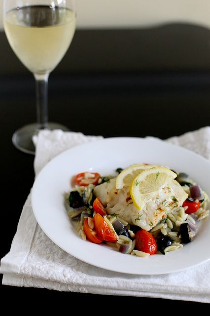 foil packet fish over greek orzo