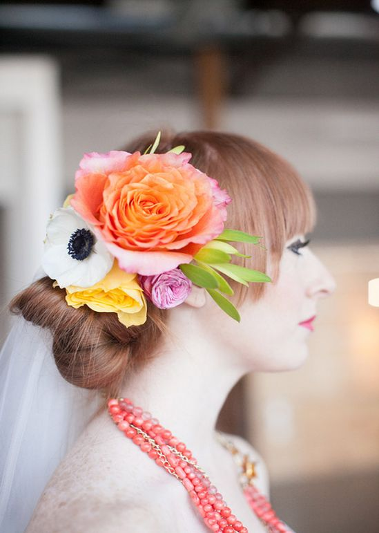 Orange, yellow and white floral headpiece