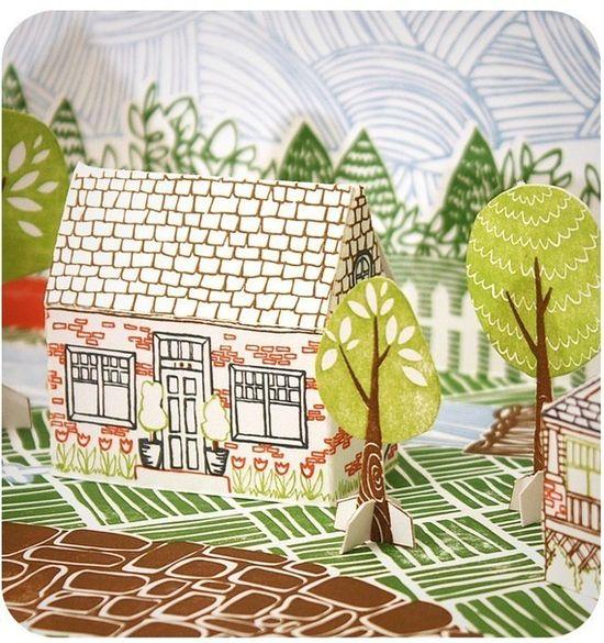 DIY: Letterpress Paper House Kit - Chandler Lane from 1canoe2 www.etsy.com/... #paper_crafting #illustrations