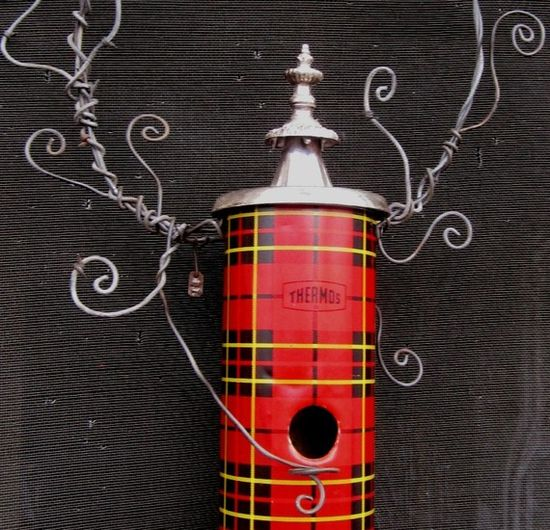 Whimsical Plaid Thermos birdhouse