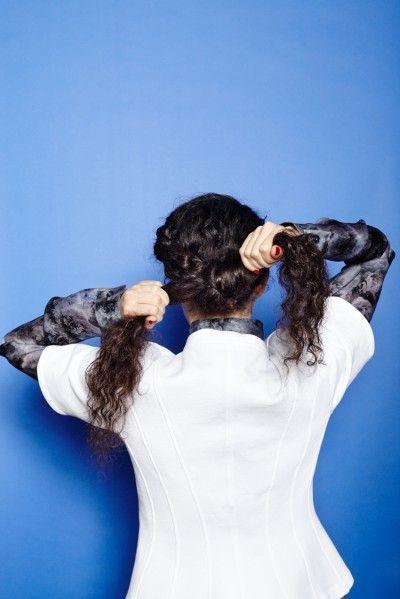 Braid hair back and make a bun