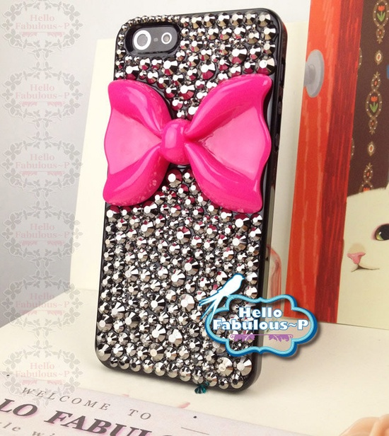 Bow iPhone 5 Case Rhinestone iPhone 5 Case Crystals Bling iphone case Studded iPhone 5 Case Steampunk Bow iphone case