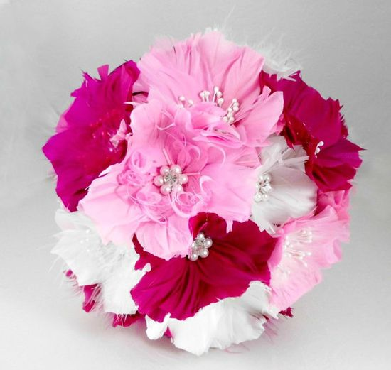 Couture Bouquet Wedding Bridal BouquetsPink by parfaitplumes, $180.00  #wedding#bridal#bouquet#heirloombouquet#featherbouquet#1920swedding#pinkbouquet
