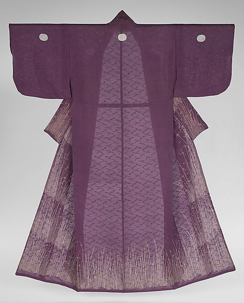 """Lines of paste were applied before the cloth was dip-dyed, and the paste resisted the dye; then, details were embroidered. The process of shiro agari resulted in the simplicity seen here—white lines representing grasses on a richly dyed purple background enhanced with touches of embroidery, such as the dewdrops couched in gold."""""""