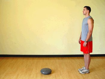 Today's Exercise: Forward Lunges onto Balance Board