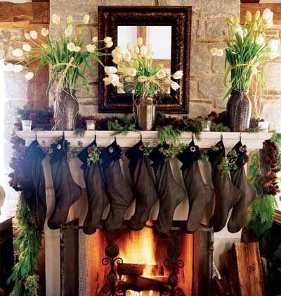 Christmas Mantels - Brown Stockings