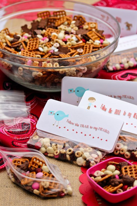 Valentine Trail Mix with PRINTABLE TAGS for school Valentine parties...A Nut Free Valentine Snack that is safe for the classroom. From @Sommer
