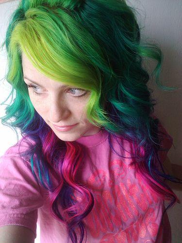 Green, blue, pink, purple hair.