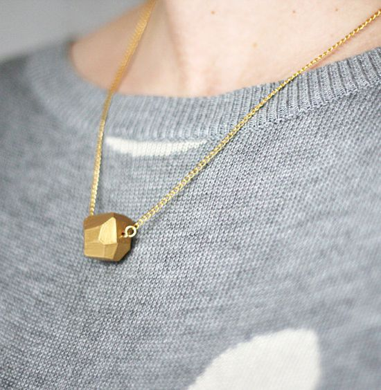 new gold geo necklace