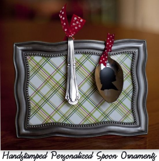 Under The Table and Dreaming: Handstamped Personalized Spoon Ornaments featuring Beckie from Infarrantly Creative {Handmade Ornament No.13}