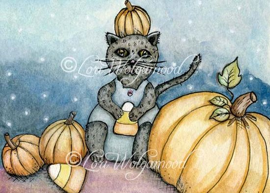 ACEO - Candy Corn Kitty Pumpkins - Halloween Watercolor Print - Vintage Nest Designs, Creative Handmade and Hand Painted Designs