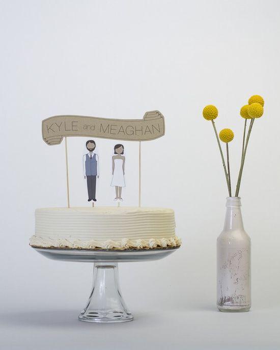 Wedding Cake Topper Set  Custom Cake Banner Kraft / by ReadyGo