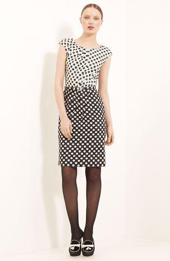 Oscar de la Renta Belted Silk Tweed Dress