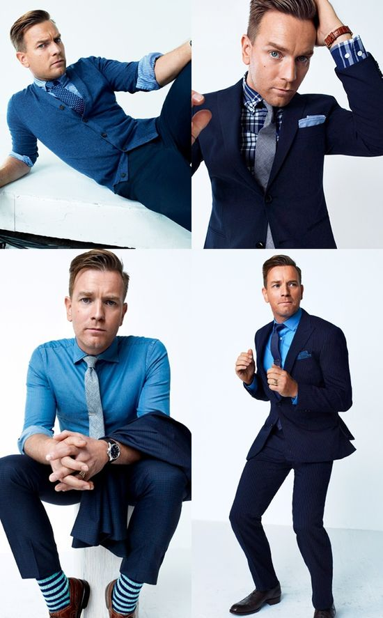 Ewan McGregor en la portada de #GQ luciendo un increible y colorido traje azul con cardigan #fashion #menfashion #womenfashion #trendsetter