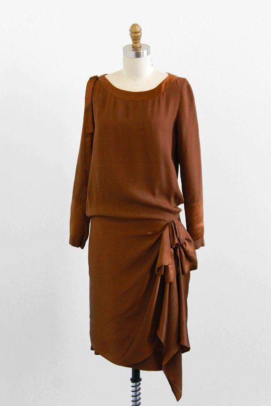 Brown Silk Dress, 1920s.