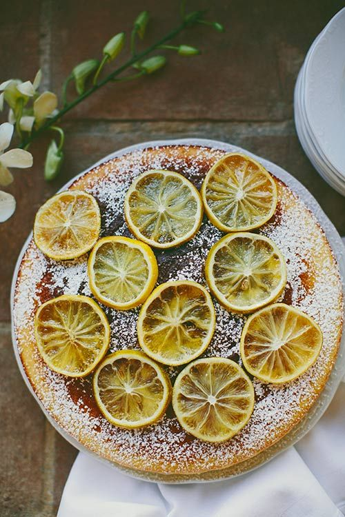 Rustically lovely cornmeal cake with candied lemons. #food #cake #dessert