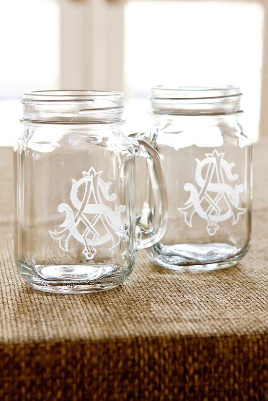 DIY monogrammed mason jars