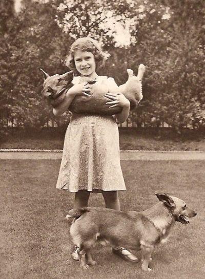 Princess Elizabeth and her corgis