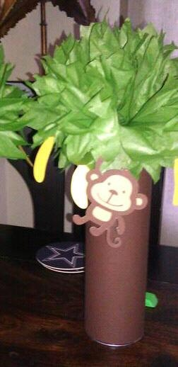 MONKEY PARTY centerpieces 2 mod monkey 1st first by MadeeBee, $15.00