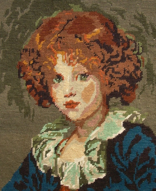 Vintage Needlepoint of Young Child, France