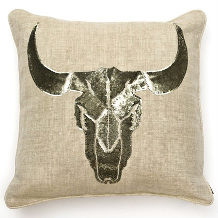 Luxe Designer Pewter Rams Head Sequin Pillow, So Beautiful Inspiring Interior Design Fans With Unique Luxury Hollywood Home Decor & Gift Ideas From InStyle-Decor.com Beverly Hills Enjoy & Happy Pinning