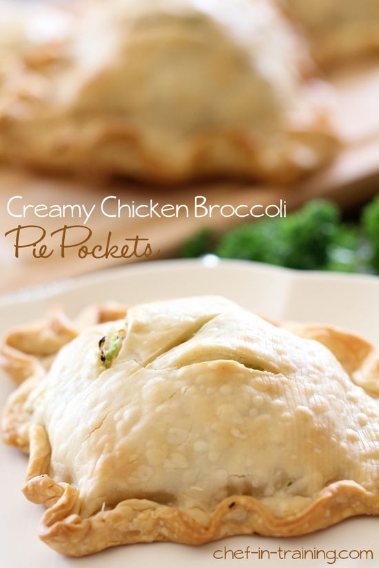 Creamy Chicken Broccoli Pie Pockets from chef-in-training.com #FoodieFiles