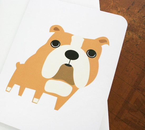 English bulldog card // cute!
