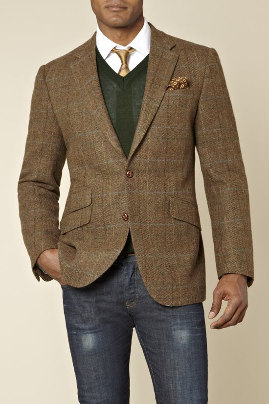 Moss 1851 Tailored Fit Overcheck Jacket Brown from Moss Bros
