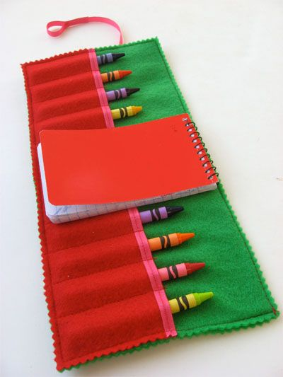 Felt crayon holder for restaurants or car trips