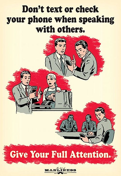 """Propaganda Posters Highlight Proper Phone Etiquette - """"Give Your Full Attention"""""""